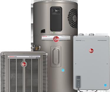 Rheem water heater, hybrid water heater, and air conditioner